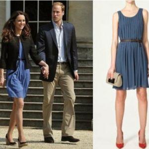 Zara Cornflower blue pleated dress Sz S